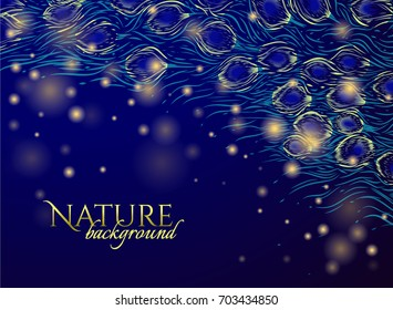 Dark blue background with green feathers of tail peacock and yellow lights. Vector illustration Use for design invitation card, wedding card, invitation card of carnival, holiday card. Hanuka