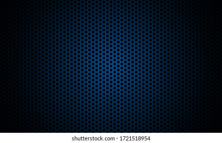 Dark blue background. Dark hexagon carbon fiber texture. Navy blue honeycomb metal texture steel background. Web design template vector illustration EPS 10.