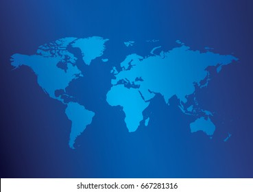 dark blue background with light blue map of the world - vector illustration. Eps in CMYK.