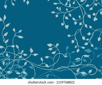 dark blue background vector with light blue ivy vines and leaves climbing around the border in a pretty hand drawn nature design