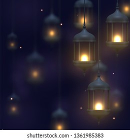 Dark blue background with vintage lamps dangling and burning