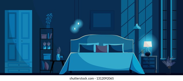 Dark blue Bedroom interior with a bed, nightstands, shelf, wardrobe, lighting bedside lamp and windows. Moon light on ter wall. Bedroom at night withot people.Flat cartoon style vector illustration.