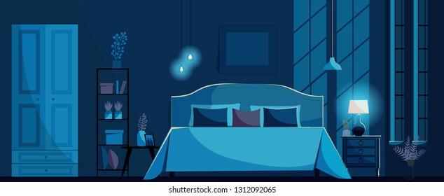 Bedroom At Night Images Stock Photos Vectors Shutterstock