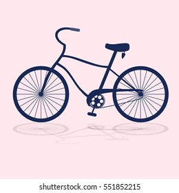 Dark blue bicycle isolated on a pink background with shadow