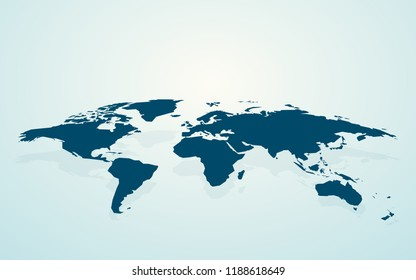dark blue blank world map fake3D