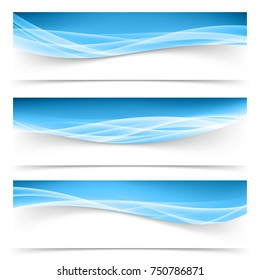 Dark blue border swoosh waves with light soft futuristic white lines collection. Swoosh liquid mild smoke stream Headers footers set. Vector illustration