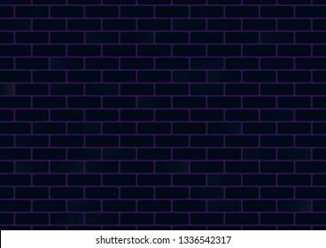 Dark blue brick wall background, vector illustration. Vintage retro color rough room wal design.