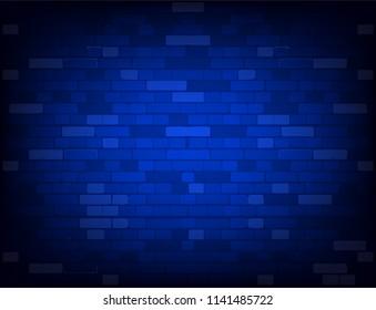 Dark blue brick wall. Realistic vector background