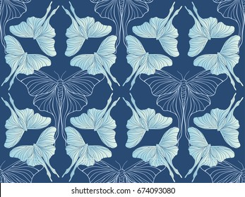 Dark blue butterfly pattern vector