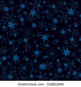 Dark blue Christmas background with many snowflakes, vector illustration