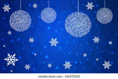 DARK BLUE christmas postcard low polygon background. Vector illustration consisting of triangles. Abstract triangular polygonal origami or crystal design of New Year celebration.