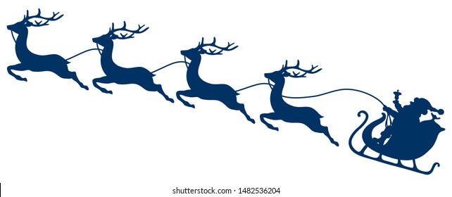 Dark Blue Christmas Sleigh Santa And Four Flying Reindeers