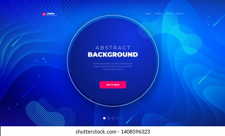 Dark blue Circle Liquid color background design for Landing page site. Fluid gradient shapes composition. Futuristic design posters. Eps10 vector.