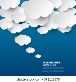 dark blue with cloud idea banner. vector .illustration.