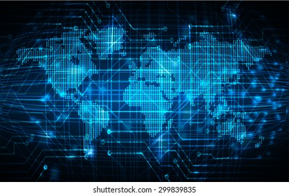 dark blue color Light Abstract Technology background for computer graphic website internet and business.circuit.illustration.digital.infographics.binary code. www.vector.motion move blur. World map