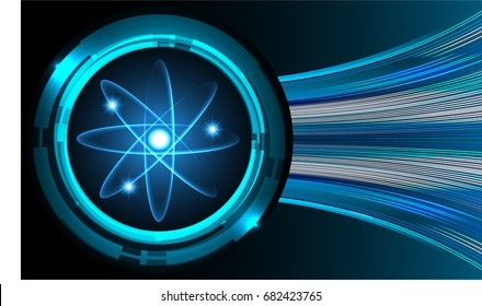 Dark blue color Light Abstract Technology background for computer graphic website internet.circuit. illustration.Nuclear,proton,neutron,nucleus. atom. molecular