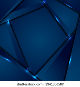 Dark blue corporate material background with glowing lines. Vector design