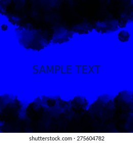 Dark blue deep water background. Abstract watercolor style with a place for text in the middle. Vector illustration EPS10.