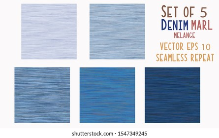 Dark Blue Denim Marl Vector Seamless Pattern. Jeans Indigo Space Dyed Texture Fabric Textile Background. Cotton Melange t shirt All Over Print. EPS 10 Tile Set of 5