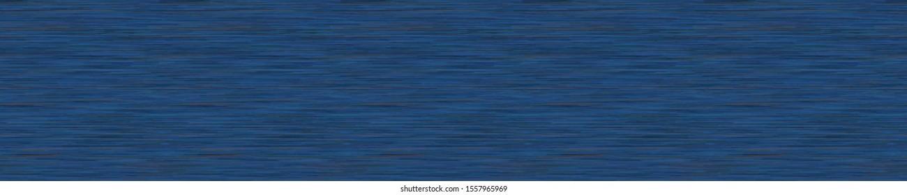 Dark Blue Denim Marl Vector Seamless Border Pattern. Heathered Jeans Effect Edging Trim. Indigo Space Dyed Texture Fabric Textile Background. Cotton Melange t shirt Banner Edging Bordure. EPS 10