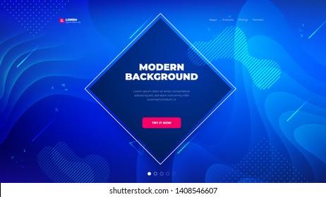 Dark blue Diamond Liquid color background design for Landing page site. Fluid gradient shapes composition. Futuristic design posters. Eps10 vector.