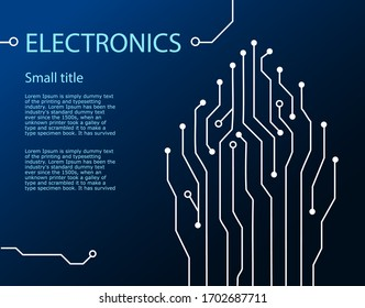 Dark Blue electronics background with line. circuit board pattern technology. vector illustration in flat.