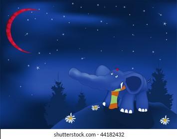 dark blue elephant in the evening