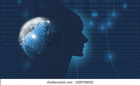 Dark Blue Futuristic Machine Learning, Artificial Intelligence, Cloud Computing, Automated Support Assistance and Networks Design Concept with Earth Globe, Network Mesh and Human Face Silhouette