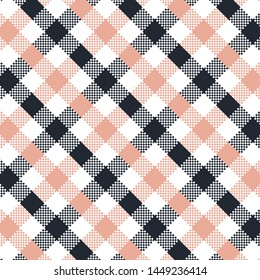Dark Blue Gingham pattern. Texture from squares for - plaid, tablecloths, clothes, shirts, dresses, paper, bedding, blankets, quilts and other textile products. Vector illustration EPS 10