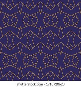 Dark blue gold trellis lines art deco geometric seamless pattern. Premium vector design. Rich royal decorative geometric ornament. Gold and blue colors geometric seamless vector background pattern.
