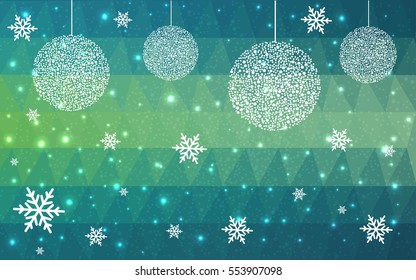 Dark blue, green christmas postcard low polygon background. Vector illustration consisting of triangles. Abstract triangular polygonal origami or crystal design of New Year celebration.