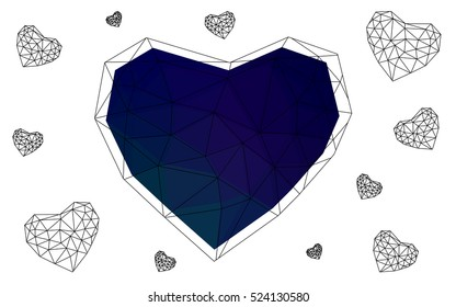 Dark blue, green heart isolated on white background. Geometric rumpled triangular low poly origami style gradient graphic illustration. Vector polygonal design for your business.