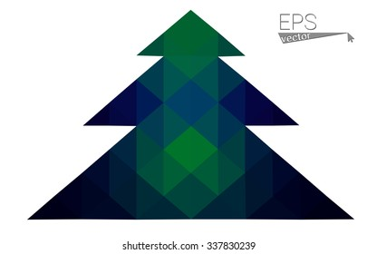 Dark blue, green low poly style christmas tree vector illustration consisting of triangles.Abstract triangular polygonal origami or crystal design of New Years celebration.Isolated on white background