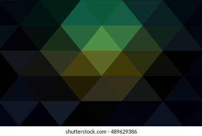 Dark blue, green low poly pattern. Shining illustration, which consist of triangles. A completely new template for your business design.