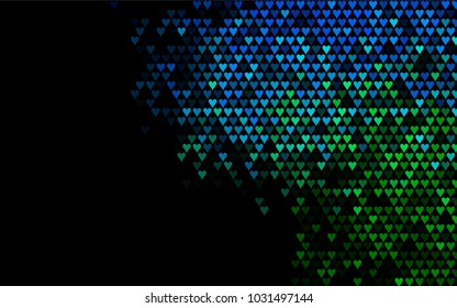 Dark Blue, Green vector abstract small hearts on white background. Template for valentine day with sweet, romantic concept. Amazing pattern for your design, banner, leaflet.