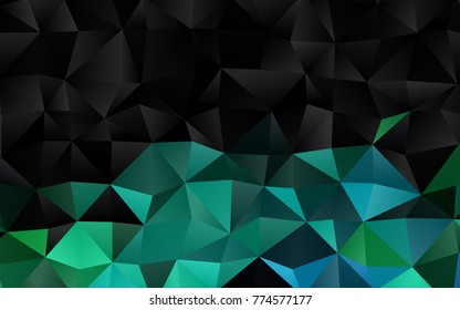 Dark Blue, Green vector abstract polygonal template. Shining illustration, which consist of triangles. The template can be used as a background for cell phones.