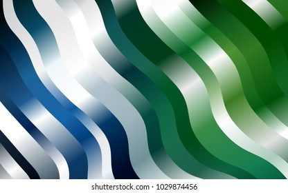 Dark Blue, Green vector background with bent ribbons. Glitter abstract illustration with wry lines. A new texture for your  ad, booklets, leaflets.