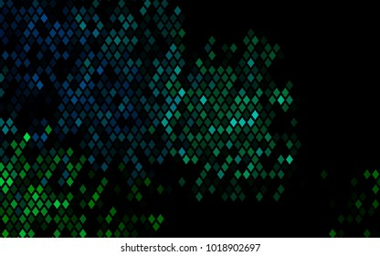 Dark Blue, Green vector blurry rectangular background. Geometric background in square style with gradient. The pattern can be used for brand-new background.