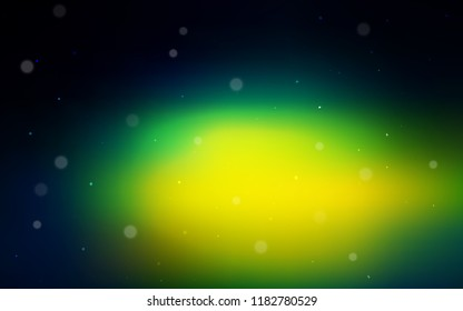 Dark Blue, Green vector cover with spots. Blurred decorative design in abstract style with bubbles. Completely new template for your brand book.