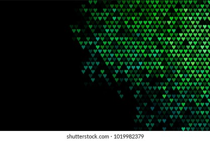 Dark Blue, Green vector hearts isolated on white background. Cool pattern in origami style with gradient for Valentine day. Graphic illustration for your business design.