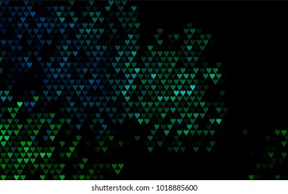 Dark Blue, Green vector lovely background with hearts. Valentines greeting card with cute hearts. Abstract pattern for your design, website, ad.