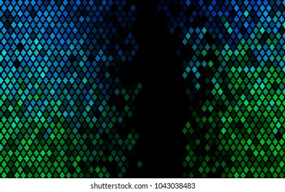 Dark Blue, Green vector modern geometrical background. Abstract template. Geometric pattern in square style with gradient.