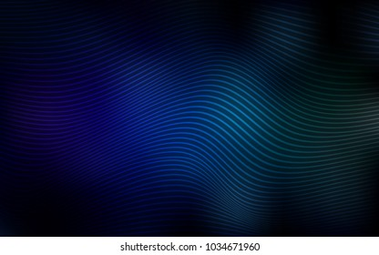 Dark Blue, Green vector pattern with curved lines. Shining illustration, which consist of blurred lines. Brand-new style for your business design.