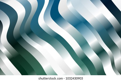 Dark Blue, Green vector template with bent lines. Modern gradient abstract illustration with bandy lines. A completely new marble design for your business.