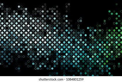 Dark Blue, Green vector  texture with disks. Beautiful colored illustration with blurred circles in nature style. Pattern can be used as texture of water, rain drops.