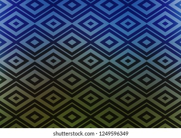 Dark Blue, Green vector texture with lines, rhombuses. Colorful decorative design in simple style with lines, rhombuses. Pattern for websites, landing pages.