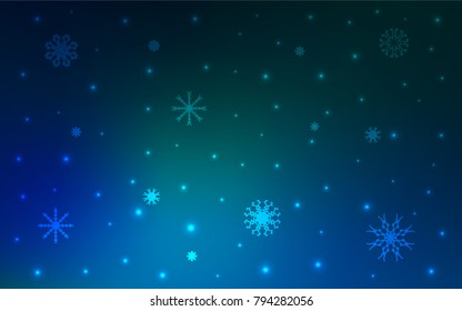 Dark Blue, Green vector texture with colored snowflakes. Shining colored illustration with snow in christmas style. New year design for your ad, poster, banner.
