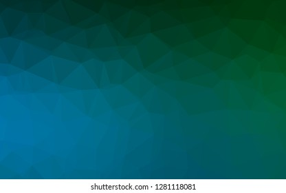 Dark Blue, Green vector triangle mosaic cover. Triangular geometric sample with gradient. Template for a cell phone background.