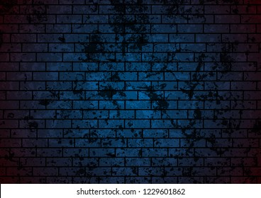 Dark blue grunge brick wall background. Vector design
