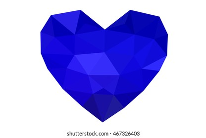 Dark blue heart isolated on white background. Geometric rumpled triangular low poly origami style gradient graphic illustration. Vector polygonal design for your business.